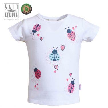 Бебешка блуза с къси ръкави и цветни калинки в бяло