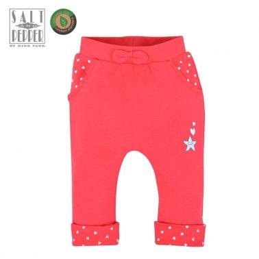 Бебешки трикотажен панталон с джобчета и панделка от органичен памук цвят диня