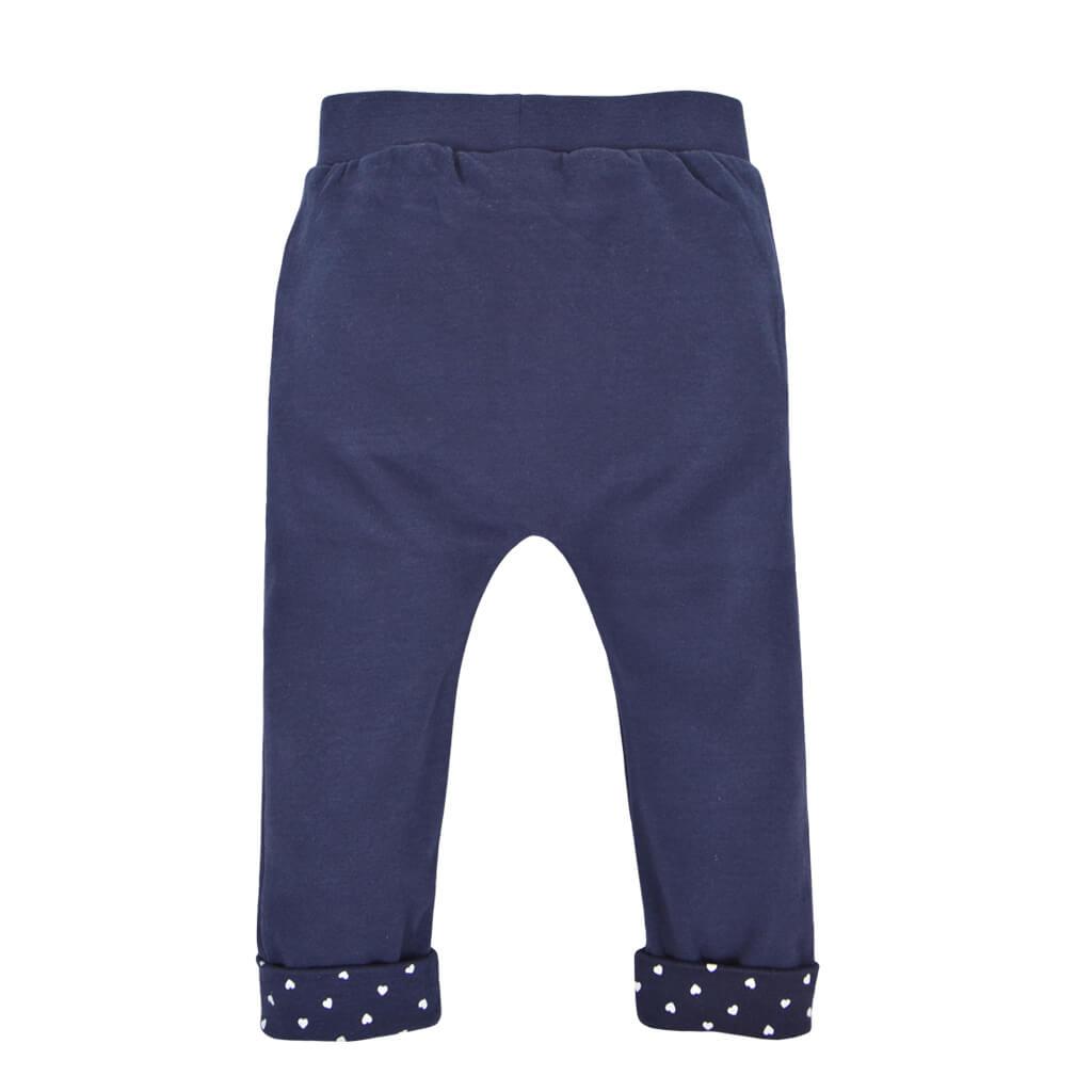 Бебешки трикотажен панталон с джобчета и панделка от органичен памук тъмно син