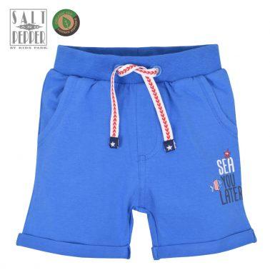 Бебешки трикотажни къси панталонки от органичен памук с морска щампа сини