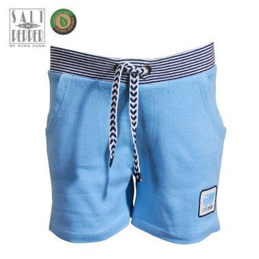 Бебешки къси панталонки с апликация камион в светло синьо
