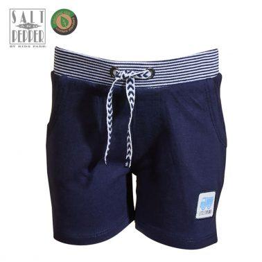 Бебешки къси панталонки с апликация камион в тъмно синьо