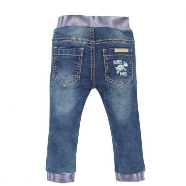 Бебешки спортни дънки с ластик и джобове цвят деним