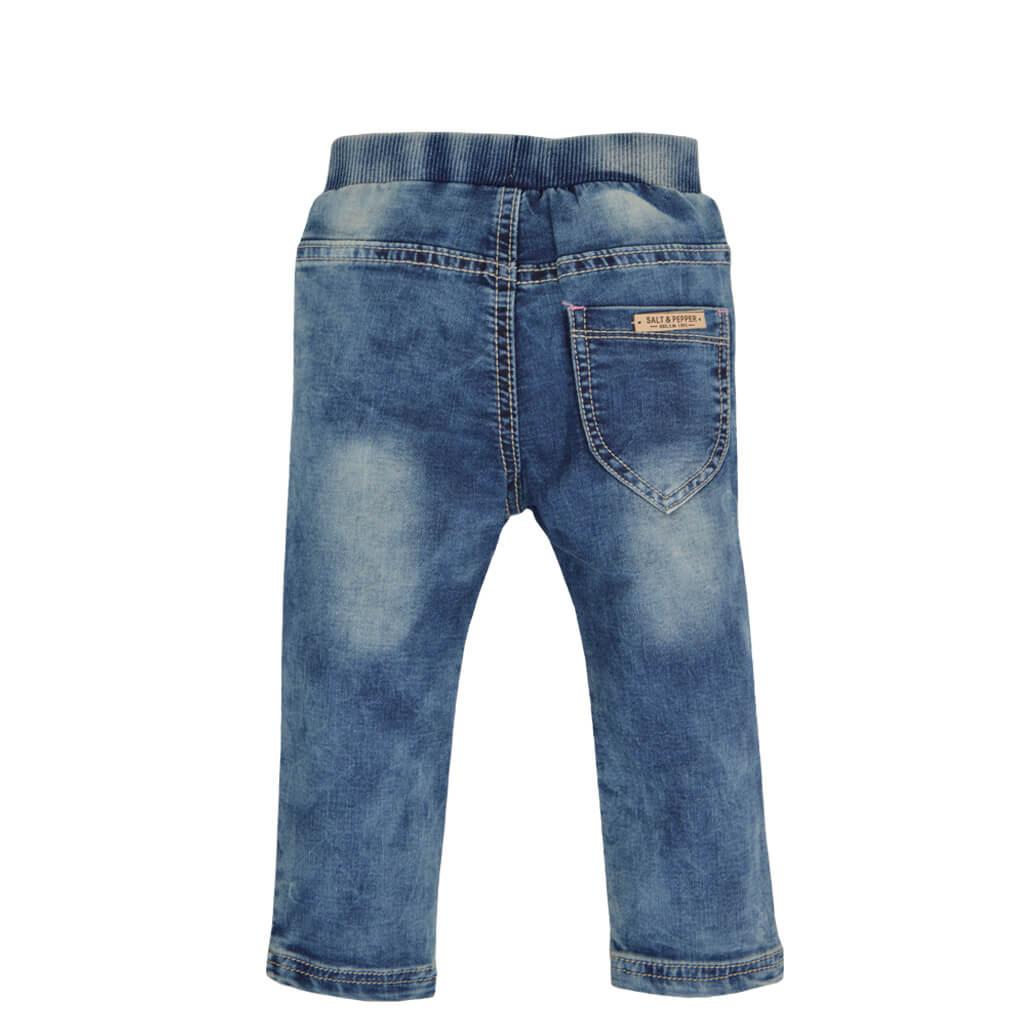 Детски дънки с джобчета и бродерия с калинка деним