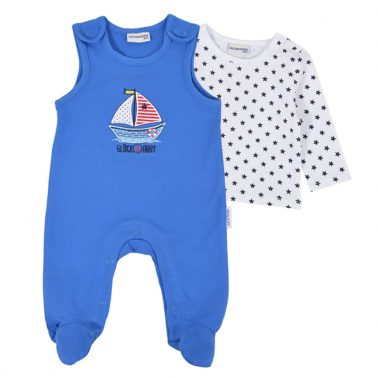 Комплект от бебешки гащеризон и блузка от органичен памук в синьо