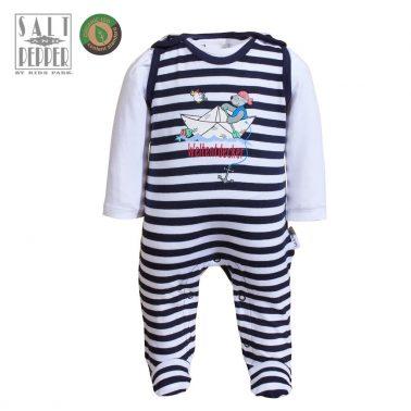 Комплект бебешки гащеризон и блузка от органичен памук тъмно син
