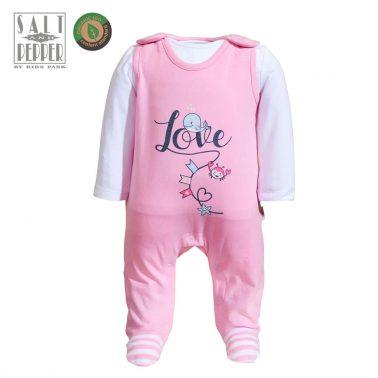 Комплект бебешки гащеризон и блузка с дълги ръкави от органичен памук в розово