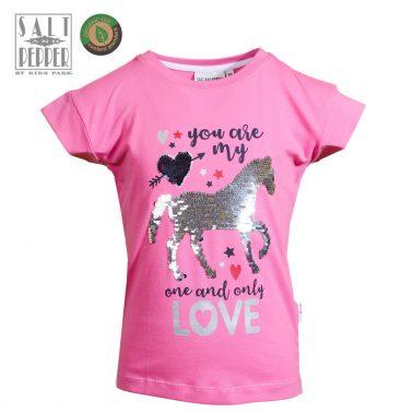 Детска блуза с къси ръкави и конче от обръщащи се пайети в розово