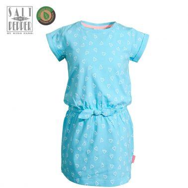 Спортна детска рокля с панделка на сърца в светло синьо