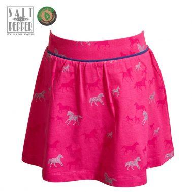 Детска пола-панталон с кончета в цикламено