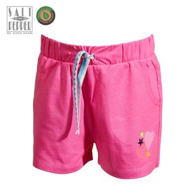 Детски къси панталонки с връзка и аплиакция с пайети в розово