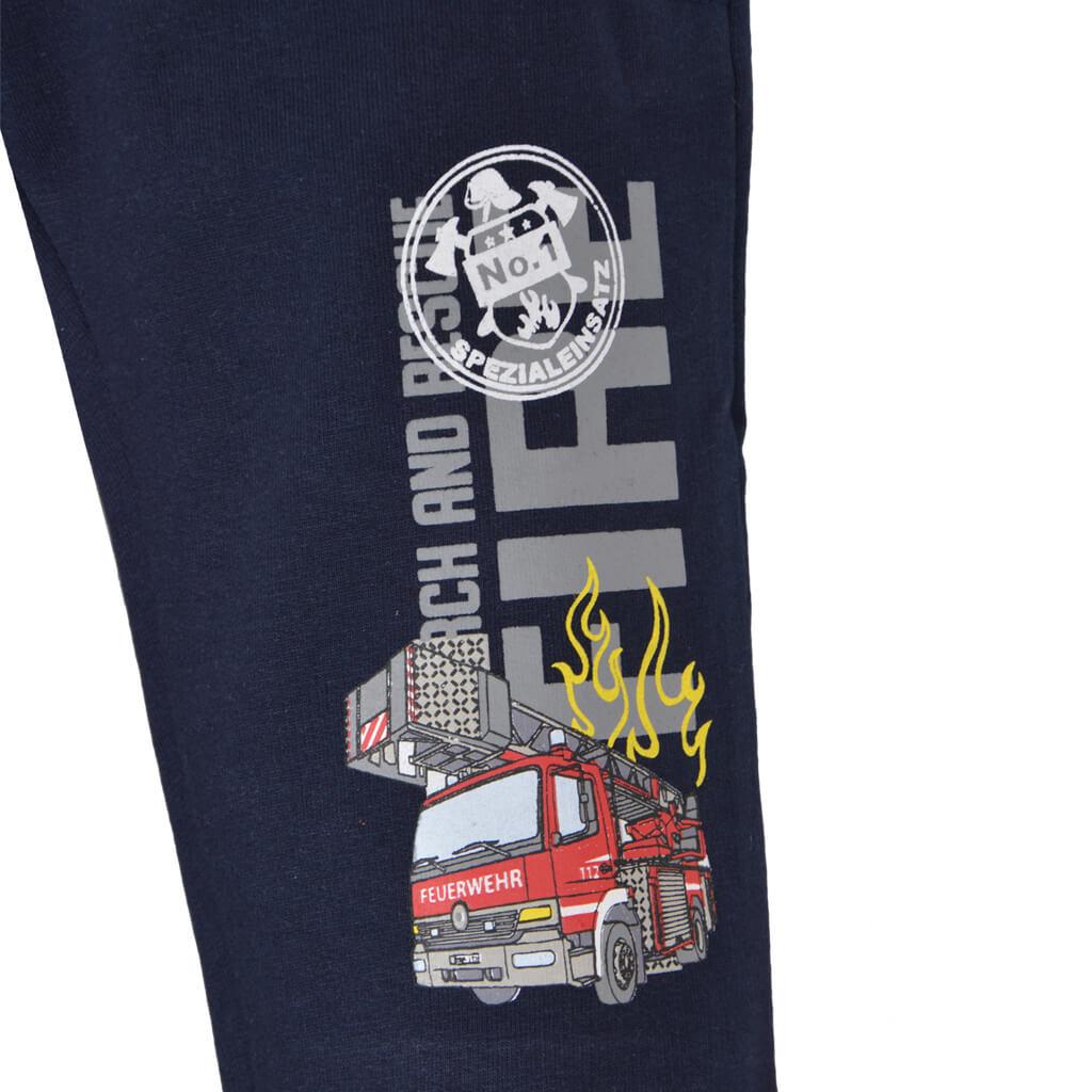 Детско долнище от органичен памук с щампа с пожарна кола тъмно синьо