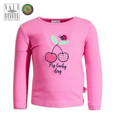 Бебешка блуза с дълги ръкави и апликация с черешки розова