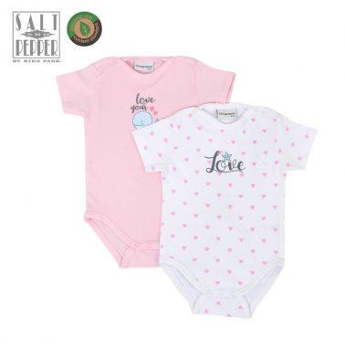 Комплект от 2 броя бебешко боди от органичен памук в розово