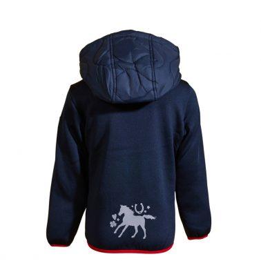 Детско пролетно яке с качулка и светлоотразители в тъмно синьо