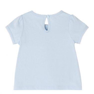 Бебешка блуза с лейка и цветя с брокат бледо синя
