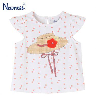 Детска блуза с къси ръкави на точки с щампа шапка в екрю