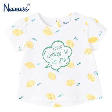 Детска блуза с къси ръкави и щампи с лимони бяла