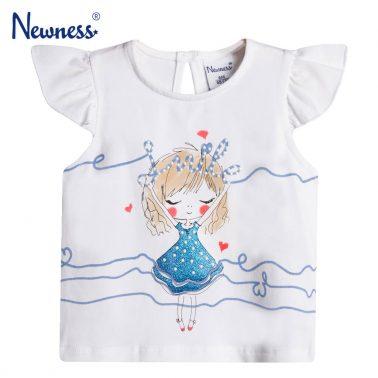 Бебешка блузка с крилце ръкав и щампа с момиченце с брокатена рокля бяла
