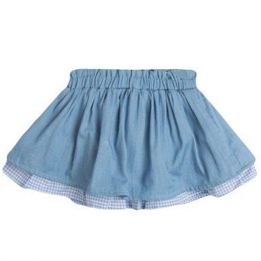Детска пола клош с подплата в каре и панделка синя