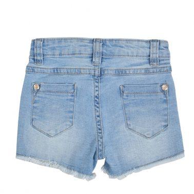 Бебешки дънкови къси панталонки с бродерия с мидички деним