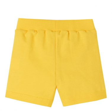 Бебешки трикотажни къси панталонки с джобчета в жълто