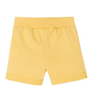 Бебешки къси панталонки от меко памучно трико с дожбчета в жълто