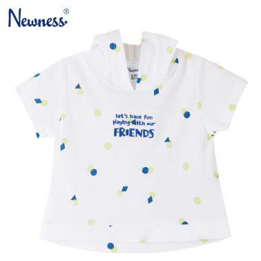 Бебешка блуза с къси ръкави и качулка бяла