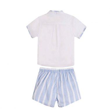 Официален бебешки комплект от риза с къси ръкави и къси панталонки в райе бял
