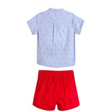 Бебешки официален комплект с риза на котвички и къси панлталонки в светло синьо