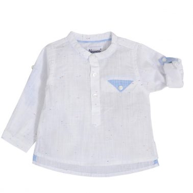 Официална бебешка риза със столче яка и джоб в бяло