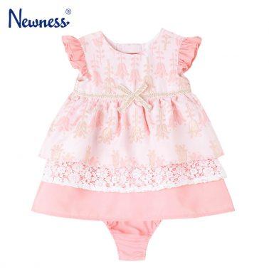 Бебешка официална рокля от жакард в комплект с гащички розова