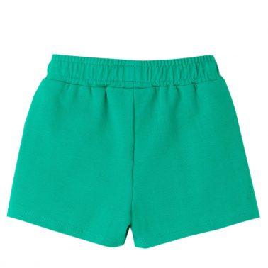 Детски трикотажни къси панталонки с къдрички в зелено