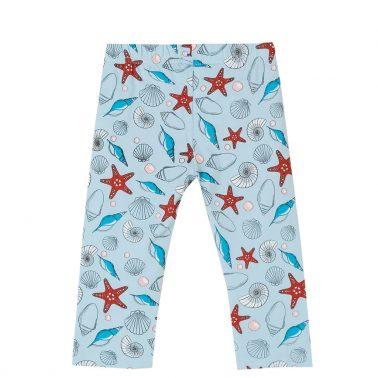Детски клин с дължина 7/8 обсипан с морски щампи в светло синьо