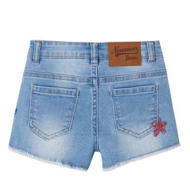 Детски къси дънкови панталони с мидички от пайети светъл деним