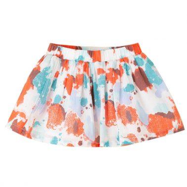 Детска разкоена пола с ластик и цветни петна коралова