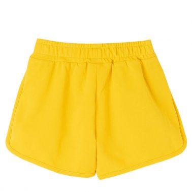 Детски къси панталони от трико с пайети в тъмно жълто