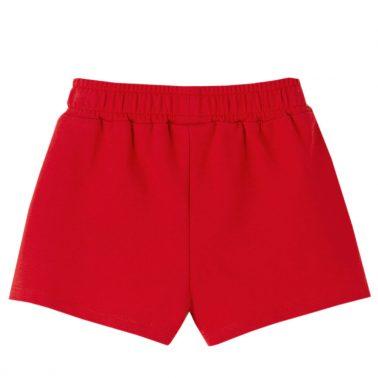 Детски къси панталонки от памучно трико с къдри в червено