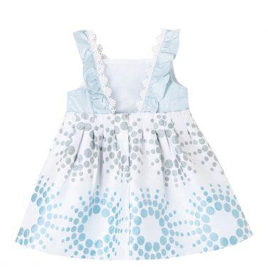 Официална детска рокля от жакард с презрамки на точки в светло синьо