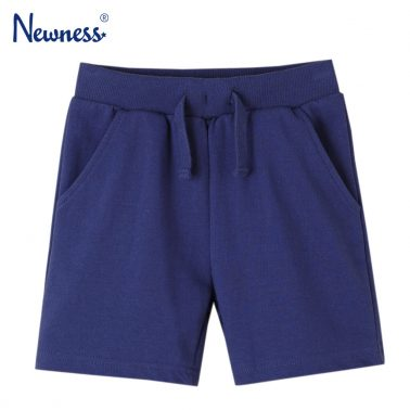 Детски трикотажни къси панталонки с ластик и връзка в тъмно синьо