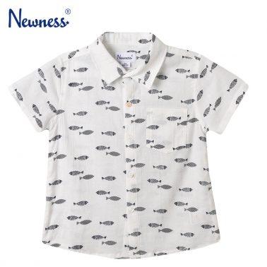 Детска блуза с къси ръкави и щампи с рибки бяла