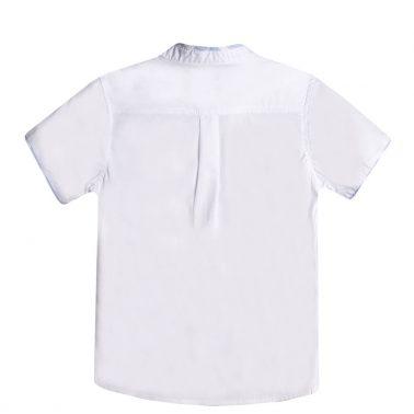 Официална детска риза с къс ръкав и столче яка бяла