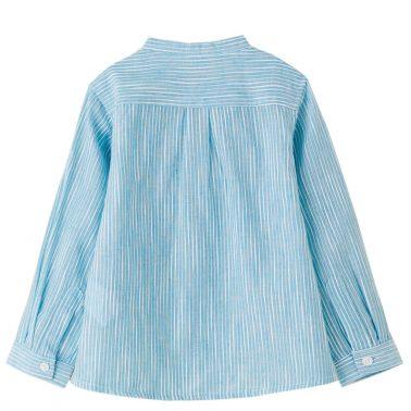 Официална детска риза с дълги ръкави в райе в синьо