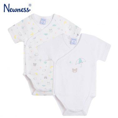 Комплект от 2 броя бебешко боди с къси ръкави и прехлупване с мечета бял