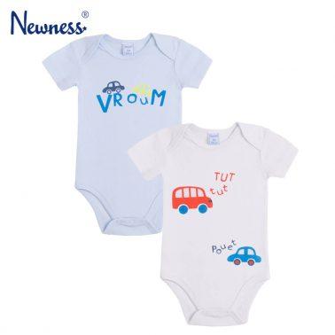 Комлект 2 броя бебешко боди с къси ръкави и щампи с автомобили бял