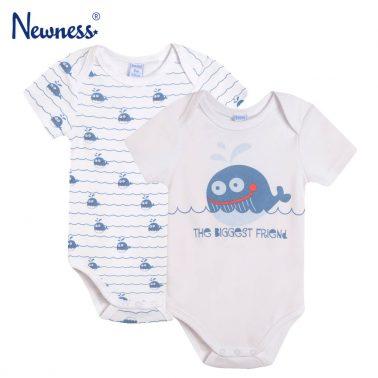 Комплект от 2 броя бебешко памучно боди с къси ръкави и щампи с делфини бял