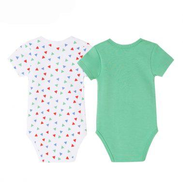 Комплект 2 броя бебешки добита с къси ръкави зелен цвят
