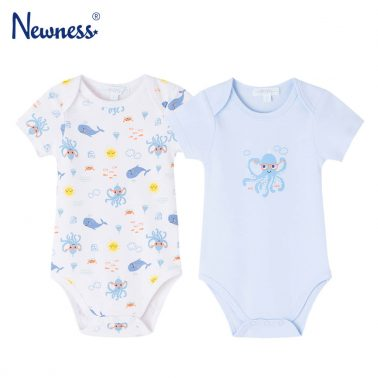 Комплект от 2 броя бебешко памучно боди с морски щампи бял