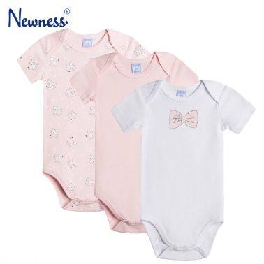 Комплект от 3 броя бебешко боди с къси ръкави бледо розово