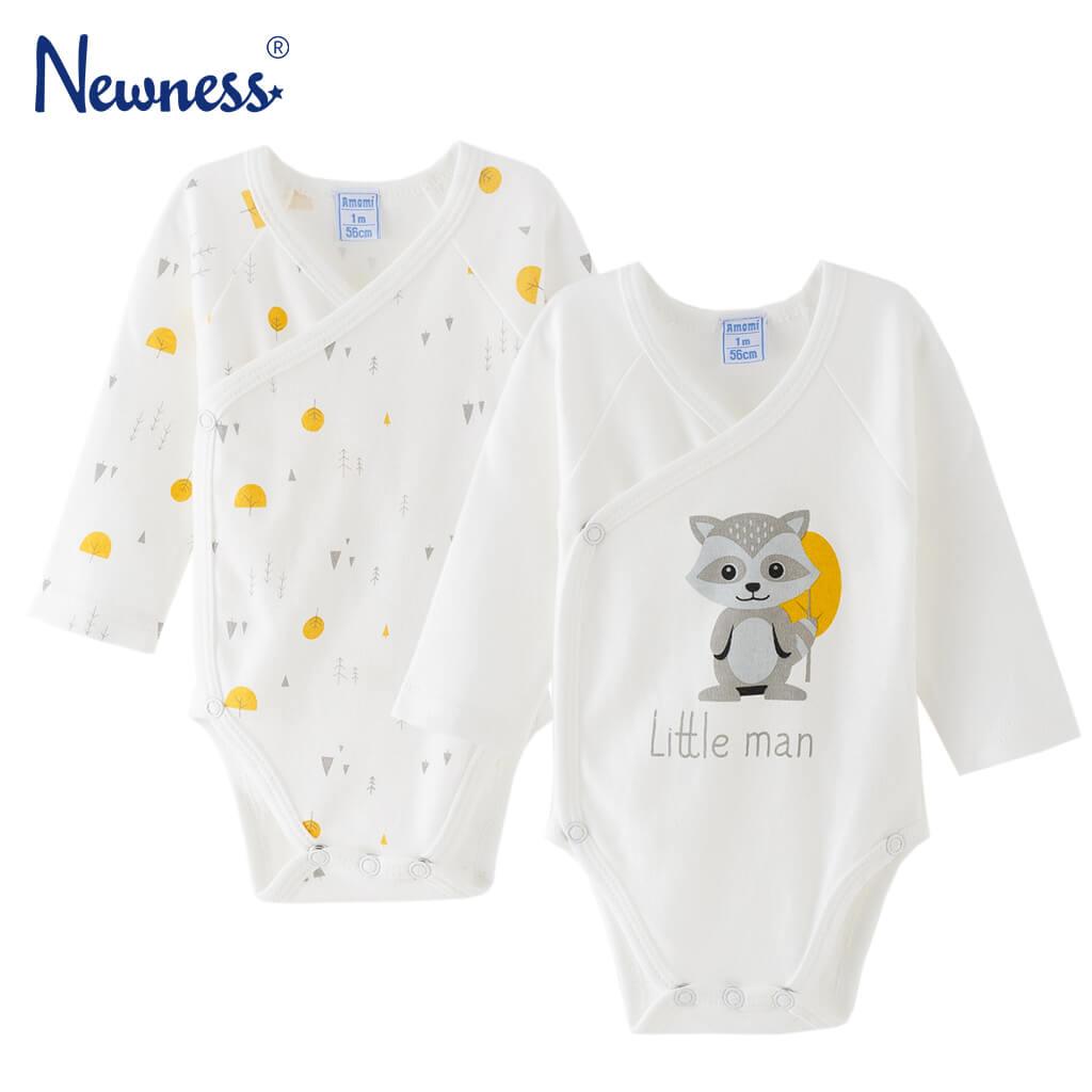 Комплект от 2 броя бебешко боди с дълги ръкави в екрю